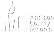 Madison County logo white text with flame