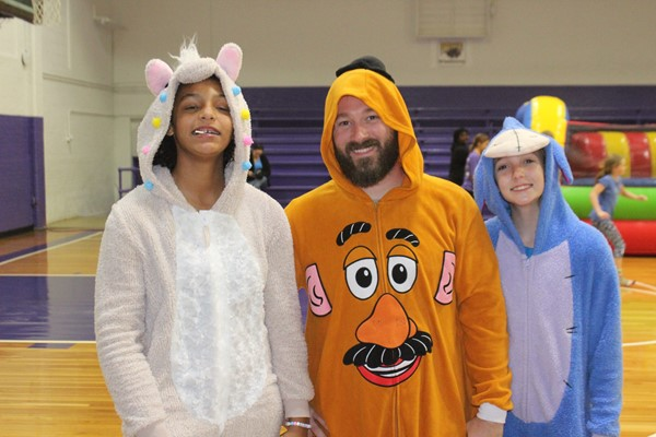 Mr. Scott and Students at the Fall Festival dressed up for Halloween