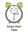 Cute clock face clipart with the title below school start times.