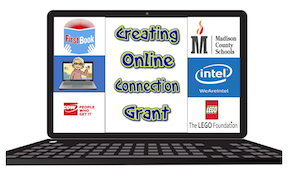 computer with the title creating online connection grant with logo from the companies that gave the grant