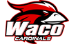 Waco logo: Cardinal head above  the school name.