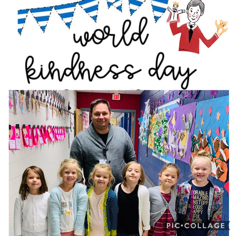 Principal Mounts with 6 Kingston students on World Kindness Day.