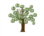 tree with $ on square leaves