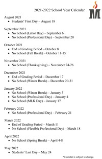 District Calendar   Madison County School District