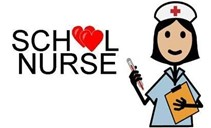 The words listed school nurse, the oo in school are made of hearts and a cartoon nurse besides the words