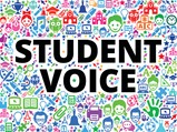 Student Voice title on top of numerous icons in the  background
