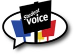 Speech Bubble with a sign that says Student voice.